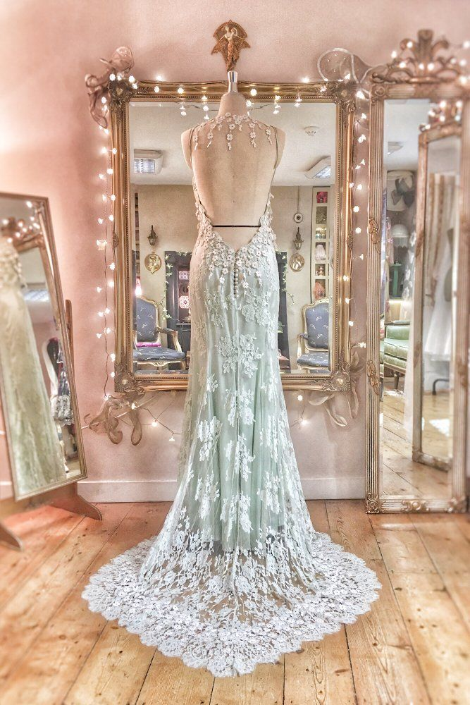 Image of SAMPLE SALE; Pale mint green & ivory lace and silk low back boho wedding dress, UK size 8/10