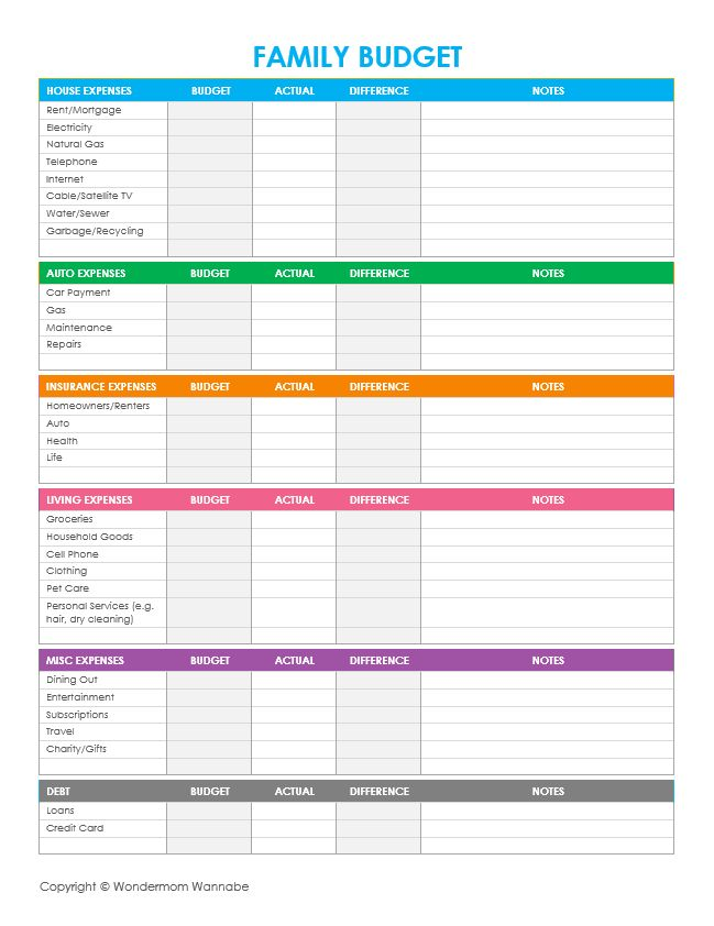 easy budget worksheet