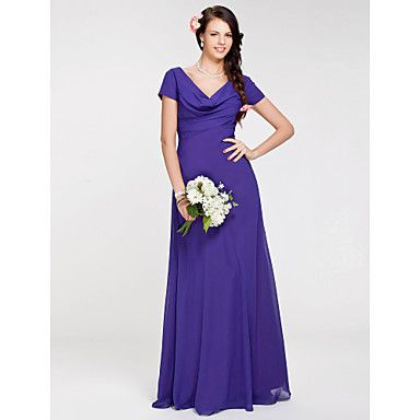 What about this one? It comes in burgundy but its more expensive. To find a floor-length one in the right color is going to cost more... It really doesn't matter what dress - you could all be in different dresses, but they have to be the same fabric and color, that's the trick..   Sheath/ Column Cowl Floor-length Chiffon Bridesmaid Dress – USD $ 129.99