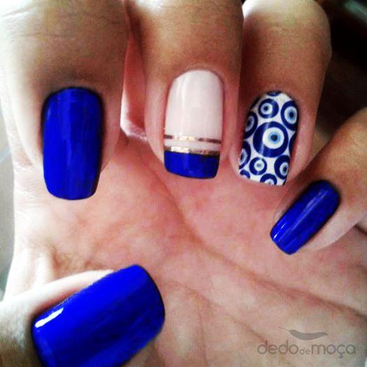 unhas azuis fitinha prata desenho, nail art