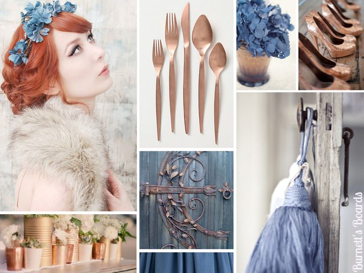 {dusk blue} copper and dusty blue (dusk blue) wedding inspiration board plus looks to match Pantone's new 2013 spring color report http://burnettsboards.com/2012/09/dusk-blue/Wedding Inspiration, Blue Colours, Blue And Copper Wedding, Spring Colors, Dusk Blue, Inspiration Boards, Colors Palettes, Wedding Colors, Blue Wedding