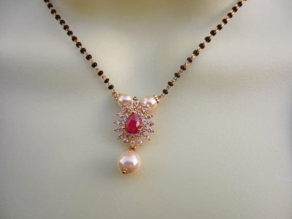 On Sale Ruby and CZ Pendant Mangalsutra Wedding by Alankaar