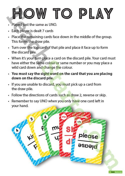 Free Printable Dolch Words UNO Cards – Classroom Game Teaching Resource