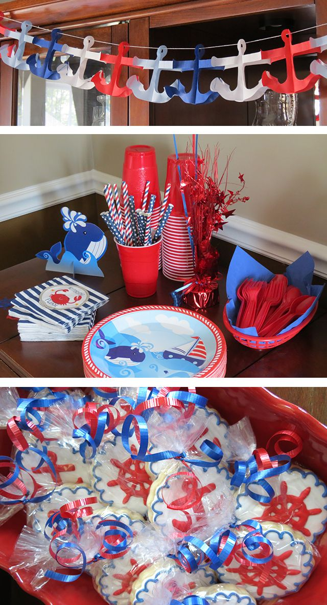 Sailboat Party Decorations - Row Row Row Your Boat 1st Birthday Party   Spit Up is the New Black