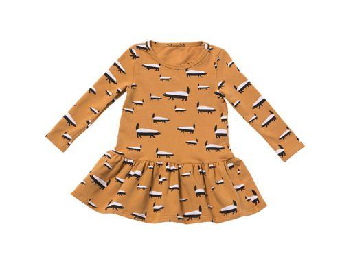 dziewczynka - moda - sukienki-Sukienka dziecięca BORSUK MUSZTARDOWY