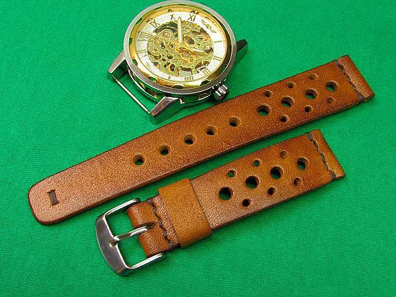 Handmade Rally Watch Strap whiskey leather, Watch strap with whiskey Itallian Leather, Unisex whiskey watch strap, Watch Strap 24mm, 22mm, 20mm, 18mm,045  100% handmade watch strap. Rally Strap was designed for the racing enthusiast. Handsome looking on a Omega, Breitling, Rolex, Panerai, Chopard , Audemars, Seiko, or whatever watch you have. The strap with the most fashion racing / rally strap pattern, all stitching are handmade. Whiskey colour watch strap carefully constructed using on...