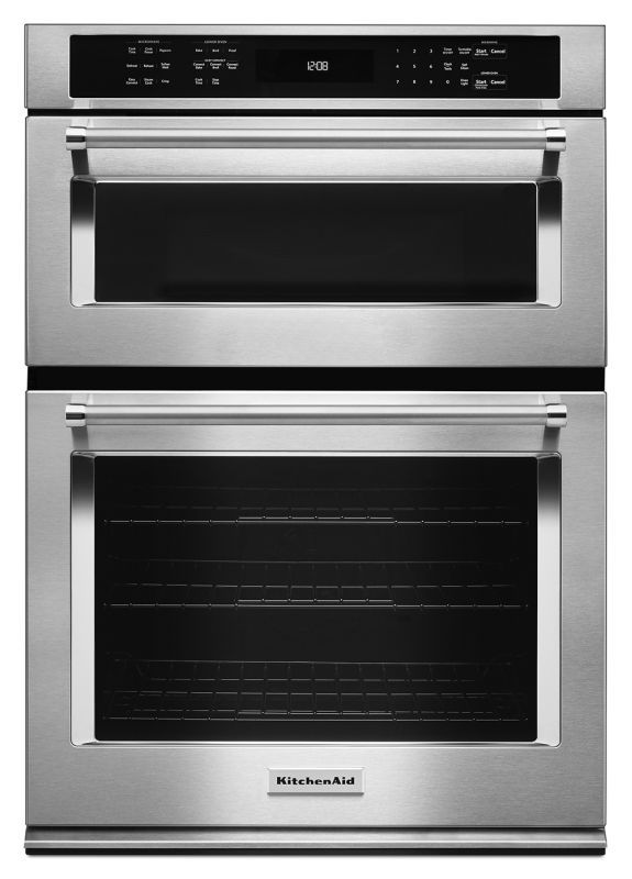 KitchenAid KOCE500E 30 Inch Wide 5.0 Cu. Ft. Combination Wall Oven with 1.4 Cu. Stainless Steel Ovens Electric Single with Microwave