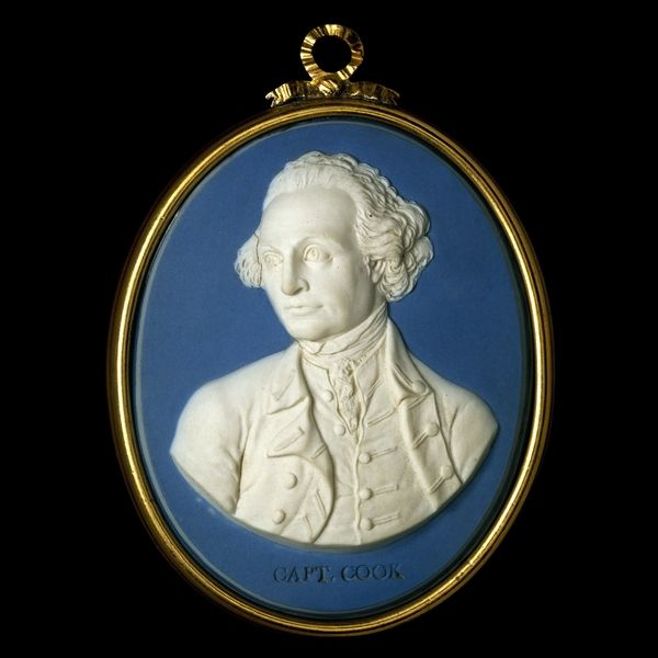 Jasperware medallion of Captain James Cook - This portrait of Cook was modelled by John Flaxman after a painting by William Hodges, who travelled with Cook on his voyage of 1772-75. The plaque is made of solid grey jasperware, a type of stoneware, its upper surface washed blue. James Cook (1728-79) rose from humble birth to be the pre-eminent eighteenth-century explorer. He joined the Royal Navy in 1755.