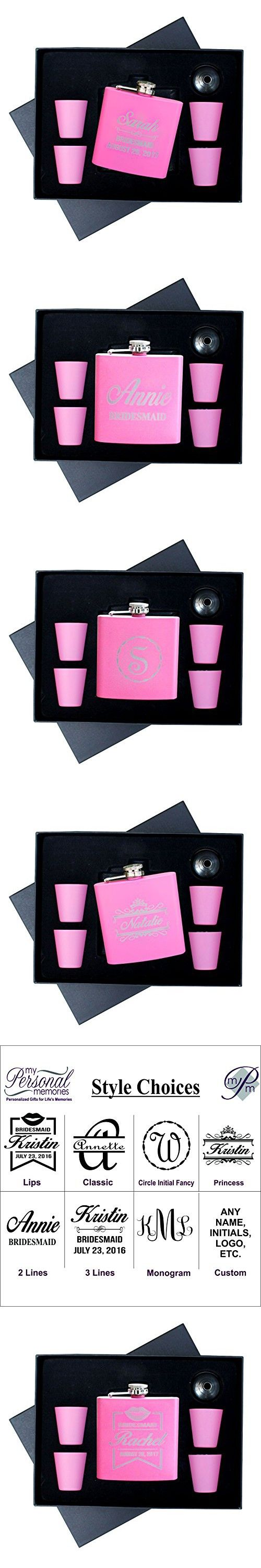 Engraved Pink Flask Gift Set For Bride Maid of Honor Bridesmaid - Custom Personalized For Free