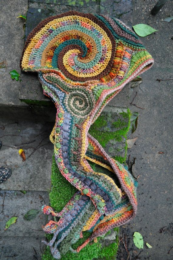 Changing Seasons Freeform Crochet Wizard Hood - hooded scarf