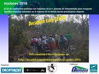 Fundación Biodiversidad, Cigüeña Negra y Decathlon, organizan en Ceuta una limpieza de bosques y repoblación forestal en Ceuta  Junto a Cigüeña Negra se ha organizado dentro de este proyecto nacional una limpieza de bosques así como una repoblación forestal con plantas autóctonas dentro una zona de bosque dentro de la Red Natura 2000 (Calamocarro – Benzu). http://laoropendolasostenible.blogspot.com/2016/09/fundacion-biodiversidad-ciguena-negra-y.html