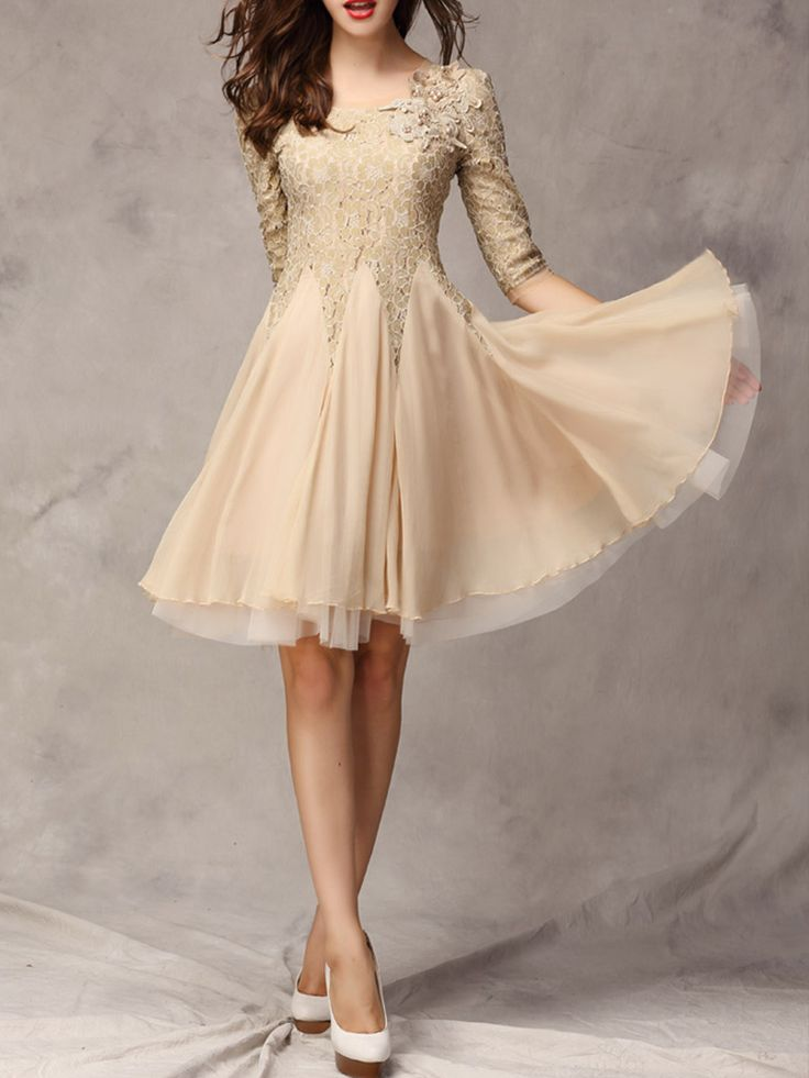 Beige Lace Panel Party Dress