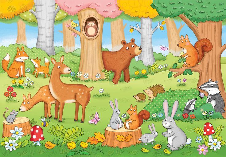 deer, bear, rabbit, squirrel, hedgehog, badger, owl, woodland, fox, kate daubney illustration, childrens illustrator