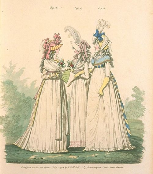Gallery of Fashion, Figures 16, 17, and 18.  July 1794.