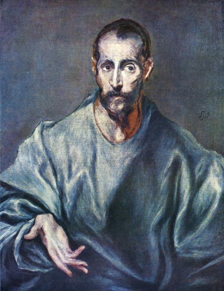 """Hoofdstuk 4 pag. 80 El Greco """"St Jacobus"""" 1600 Dit lijkt wel een van Gogh, zoals Will ook beschrijft, lange bijna vervormde figuren."""