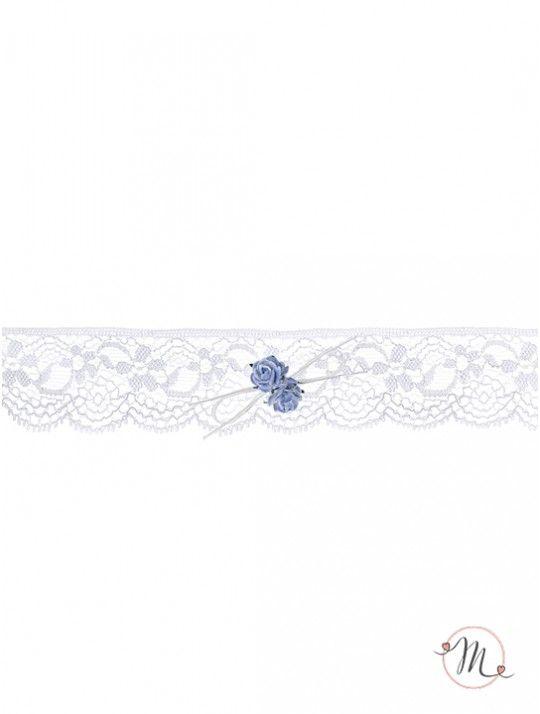 Giarrettiera pizzo e rose azzurre. Delicata ed elegante.  Quel tocco di blu che non deve mancare.  Misura: unica. In #promozione #matrimonio #weddingday #ricevimento #wedding #sconti #giarrettiera #giarrettiere #sconto #nozze