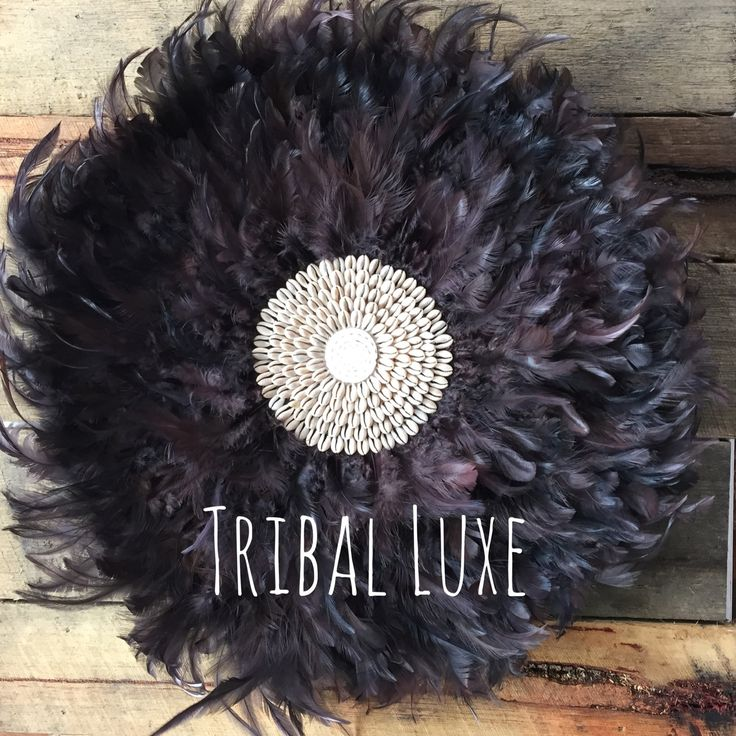 Tribal Black Feather & Shell JUJU Hat Handcrafted Wall Hanging Decor by…