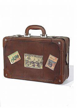 DCSE Suitcase, metal. Antique look. Brown. Vintage Decoration