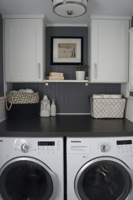 Love this idea to maximize space with front load washer and dryer!