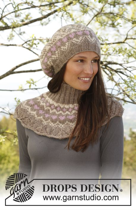 Beret and Neck Warmer L/XL  Head circumference: 54/56 - 57/59 cm  Materials:   DROPS NEPAL from Garnstudio  For all sizes use:  100 g colour no 0618, camel  50 g colour no 0206, light beige  50 g colour no 3720, medium pink    DROPS DOUBLE POINTED NEEDLES and CIRCULAR NEEDLE (60 cm) SIZE 4.5 mm - or size needed to get 18 sts x 23 rows in stocking st = 10 x 10 cm.  DROPS CIRCULAR NEEDLE (40 cm) SIZE 3.5 mm – for rib.    NECK WARMER:  Size: