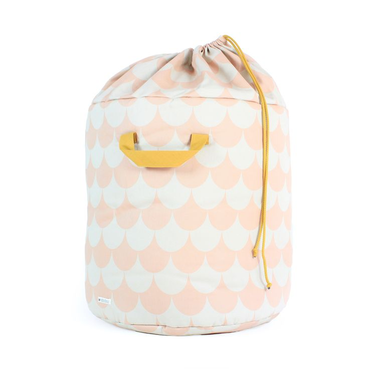 Large Toy Storage Bag in Soft Pink Scale Print from Nobodinoz at Nubie. http://www.nubie.co.uk/playroom-furniture/toy-storage/large-storage-bag-soft-pink-scale-print