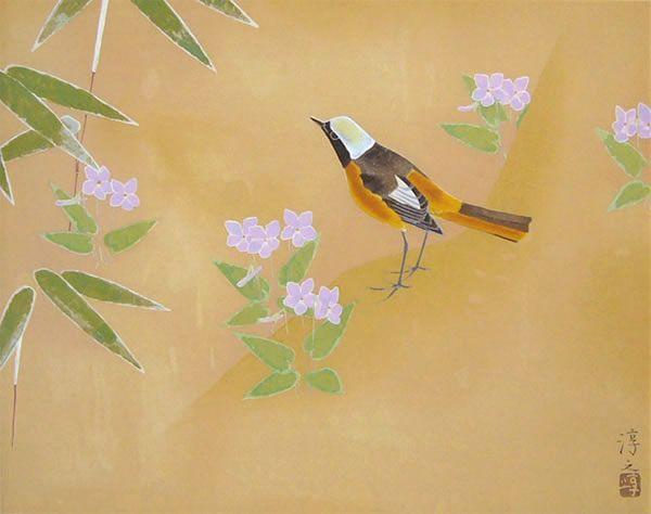 'Violet' woodcut by Atsushi UEMURA