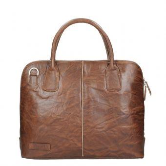 """Plevier Crunch Leather Dames Laptoptas 15.6"""" cognac"""