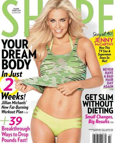 Jenny McCarthy just turned 40 and by looking at the set of abs she's flaunting on the cover of Shape, she could pass for half her age. The single mom and love columnist, who took it all off for Playboy a few months back, credits a strict and varied workout routine.