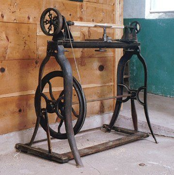 Beautiful old victorian treadle lathe. Exercise and work at the same time.