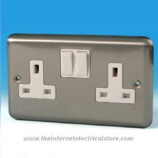 Varilight 2 Gang 13 Amp Switched Electrical Plug Socket Matt Chrome White Insert XS5W