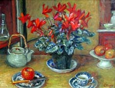 Margaret Olley  Untitled (Flowers and Teapot) 2002  Oil on board  49.5 x 64.5cm