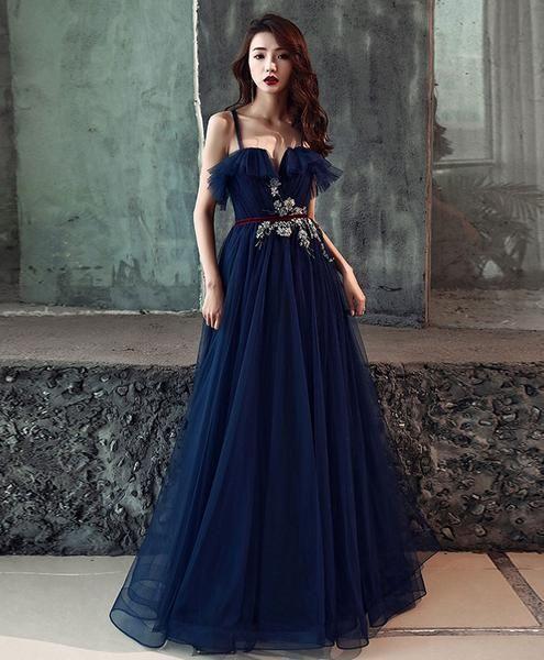 Dark blue tulle long prom dress, dark blue tulle evening dresses 5