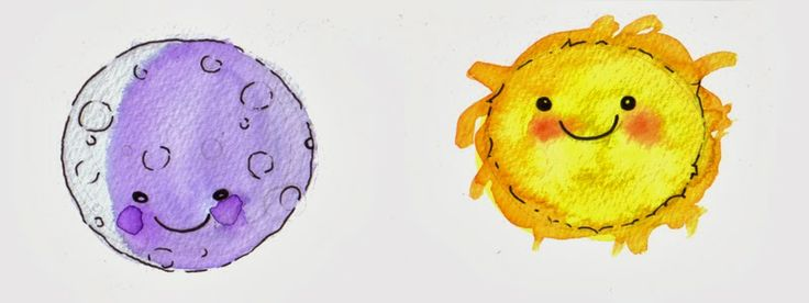 Sun and moon. Watercolors #acuarela by Isabel Hierro Cuentos para niños #kids