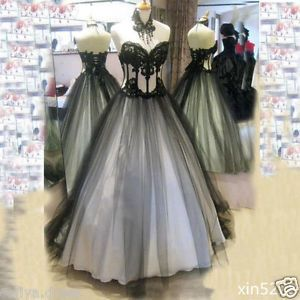 2017 Victorian Gothic Wedding Dresses Black White Bridal Gowns Boning Sleeveless | eBay