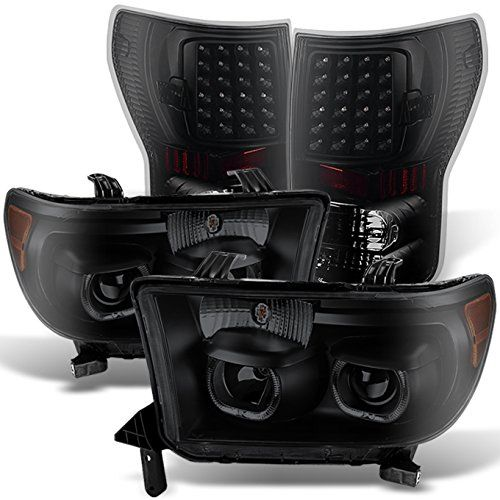 Toyota Tundra Black Smoke Projector Headlights Lamps Replacement   LED Black Smoke Tail Lights Lamps