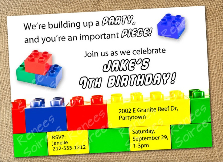 The 137 best lego party 4 images on pinterest birthdays birthday building brick invitation boy or girl printable birthday invite customizable primary colors filmwisefo