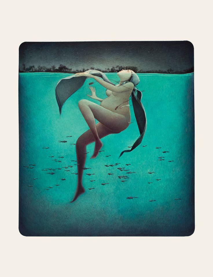 Rebecca Dautremer - Illustration - Une Bible - Marie au bain.