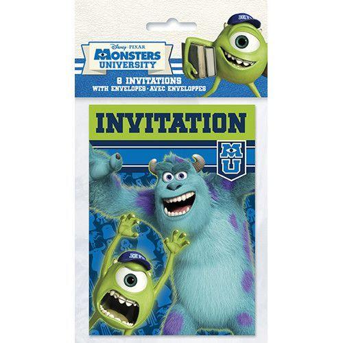 Monsters University Invitations [8 Per Pack]