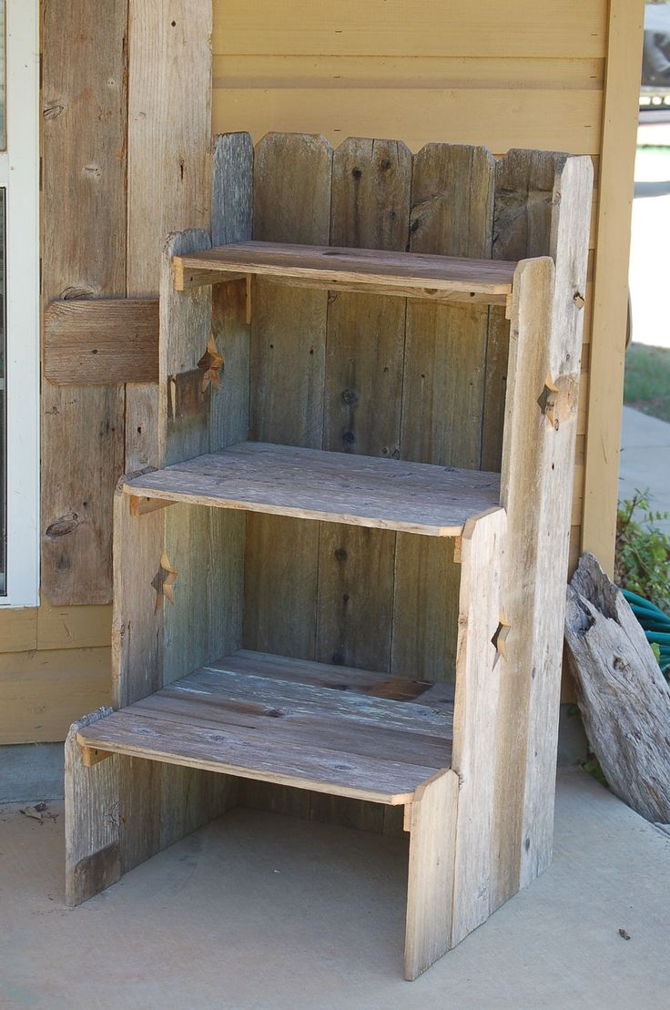 "Garden Shelf. Large Bookcase. Kitchen Shelf. Outdoor Shelf. 48"" x 24"" x 24"" Reclaimed Wood Furniture. Eco Furniture. Star Wood Shelf"