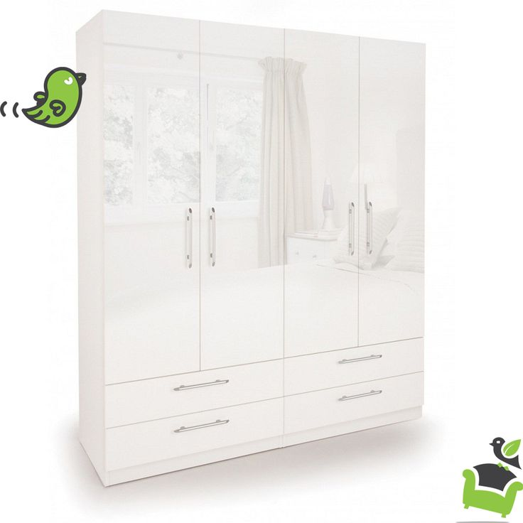 Connect Angel 4 Door Wardrobe with 4 Drawers- High Gloss White #Bedroom #wardrobes
