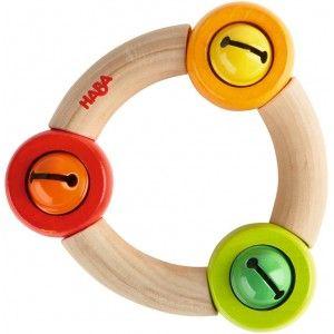 Haba 3853 - Drewniana Grzechotka Ringela z 3 Dzwoneczkami. Zabawka rekomendowana od 10 miesiąca życia