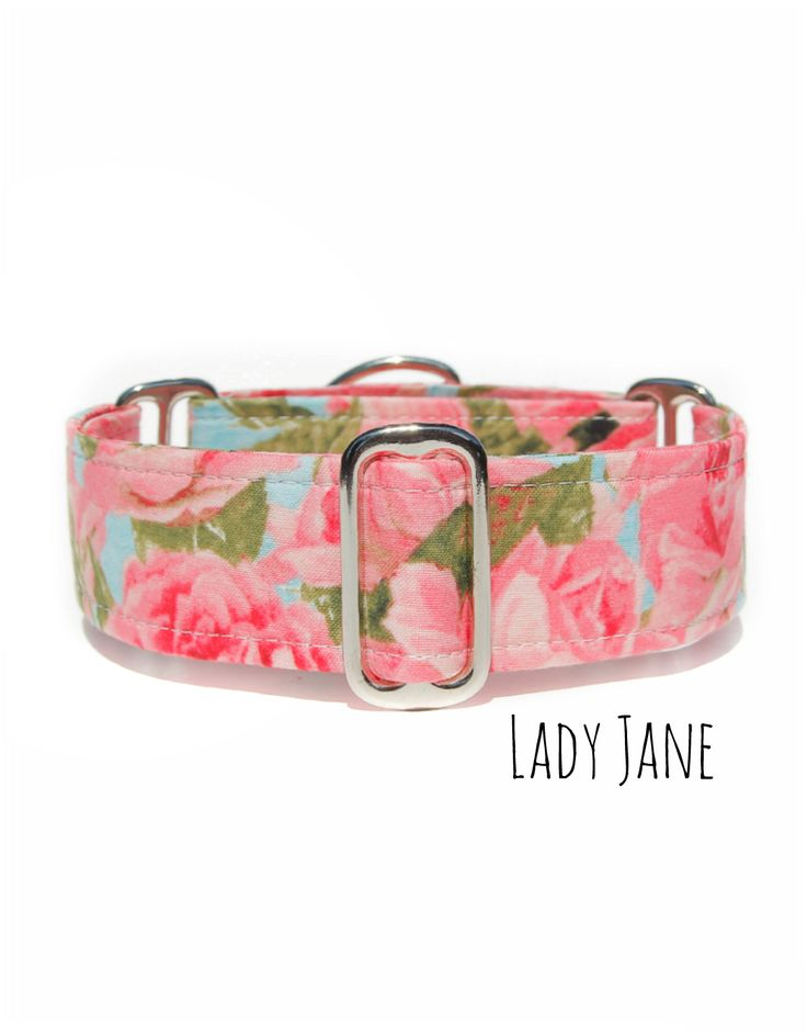 Pink Martingale Dog Collar - Greyhound Collar - Handmade Etsy Dog Collars www.collartown.etsy.com   Floral Martingale Collar