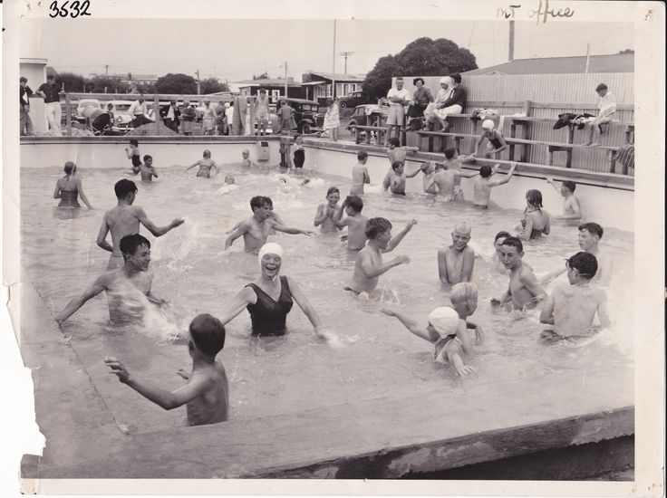Swimming Pool opening 1960 - Cosy Corner Holiday Park, Mt Maunganui, New Zealand