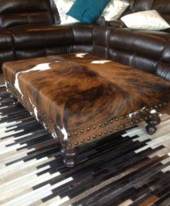 Love the tricolor cowhide ottoman #cowhide #rustic #rusticdecor #mancave #cabin #cabinlife