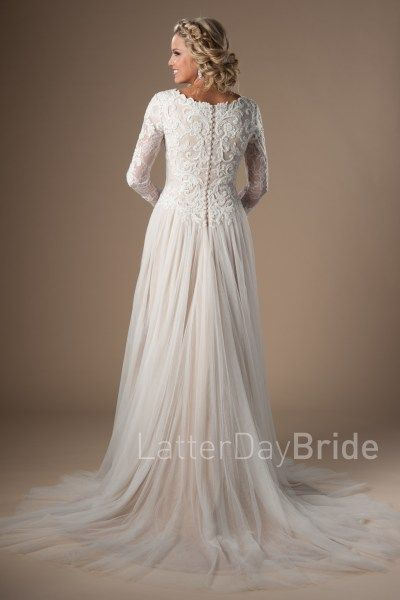 lds wedding dresses, the Tybree with skirt slit and beaded lace in slc utah