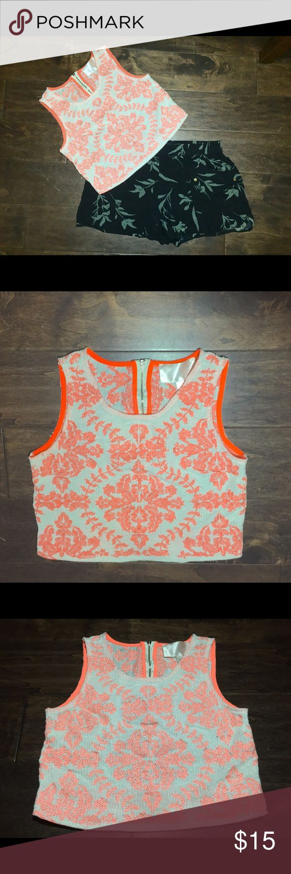 Pink Coral Embroidery Crochet Crop Top Looks like the little top you'd pick up from the cute little boutique down the street. 🐙 Zip up back with a tiny separation detail to complement your lower back. 👌🏻 Soft crop top tank. Brand sells at Nordstrom. J.O.A. Tops Crop Tops