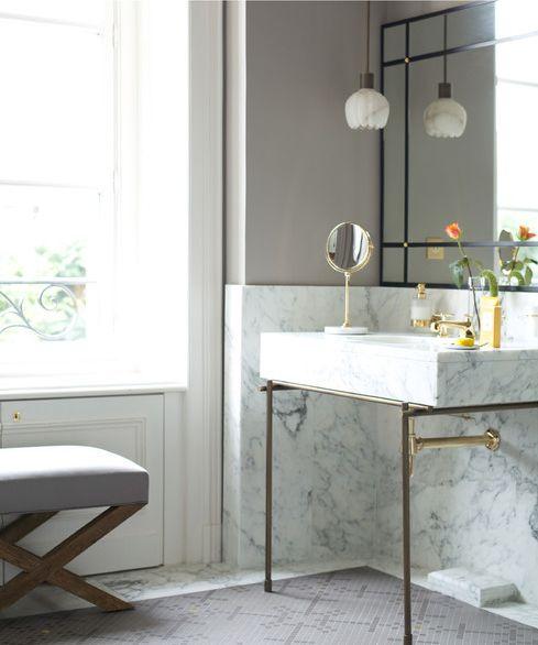 Digital Art Gallery sink w brass legs wall color marble wainscoting floor