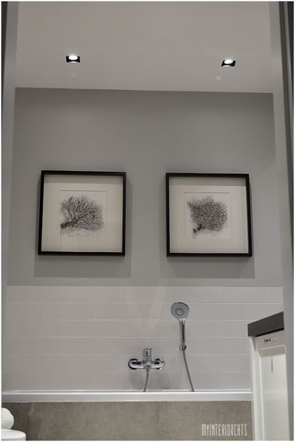 white&grey bathroom with coral pictures in hampton style