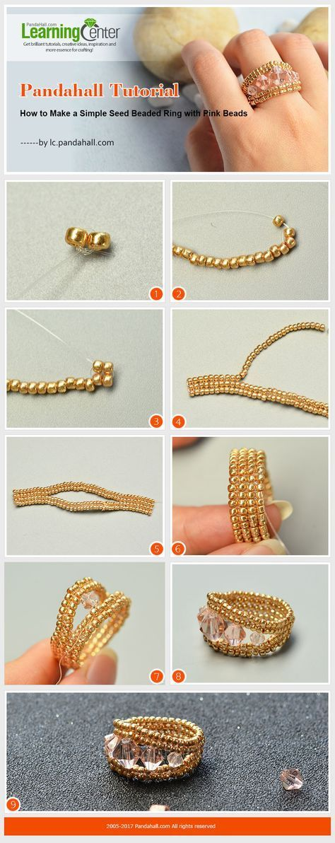 Pandahall Tutorial – How to Make a Simple Seed Beaded Ring with Pink Beads