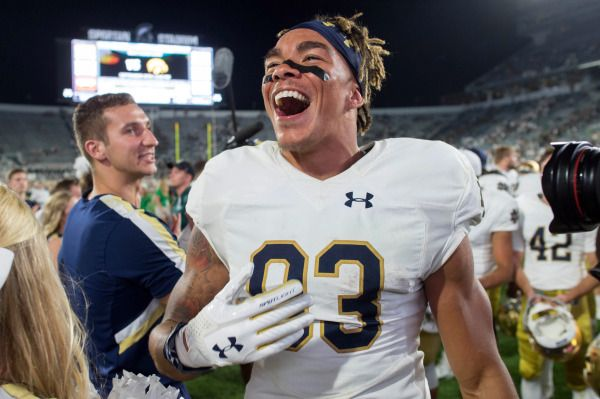 Fighting Irish wide receiver Chase Claypool (83) reacts after Notre Dame defeated the Michigan State Spartans. Matt Cashore-USA TODAY Sports